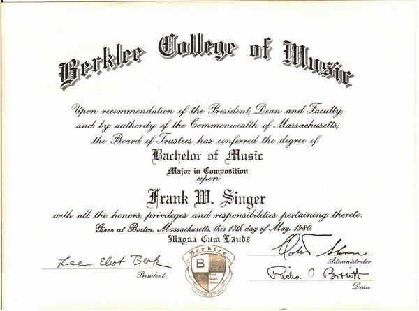 F Singer Berklee Diploma Page