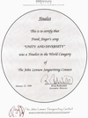 John Lennon Songwriting Contest Finalist Award in the World Music Category for Unity And Diversity 1998